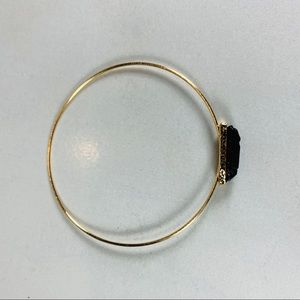 Skinny Bangle Bracelet Black Raw Stone Design